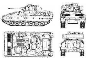 M2A1_Bradley_tracked_armoured_infantry_fighting_vehicle_United_States_US_American_Army_line_drawing_blueprint_001