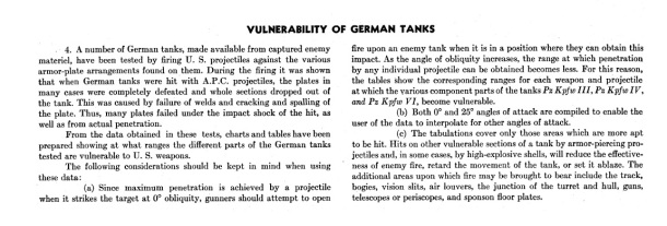 Vulnerability of German tanks text