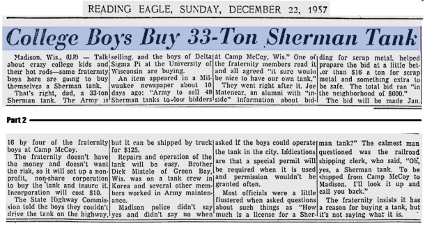 College boys buy Sherman Tank
