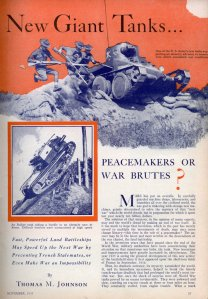 New Giant Tanks…PEACEMAKERS OR WAR BRUTES (1935)