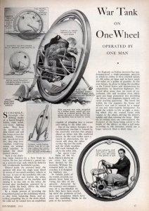War Tank on One Wheel OPERATED BY ONE MAN (1933)
