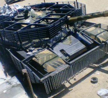 Slat and chain armor for T-72