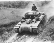 A prototype Australian AC1 Sentinel Cruiser Tank MkI negotiating a gully during trials at the Villawood test track in Sydney.