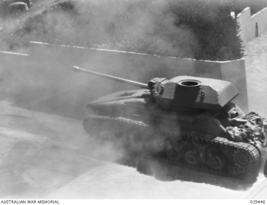 FORT GELLIBRAND, WILLIAMSTOWN, VIC. 1943-01-26. AN AUSTRALIAN BUILT AC 4 (17 POUNDER) TANK AT THE PROVING GROUND DURING A DEMONSTRATION OF NEWLY INTRODUCED WEAPONS.