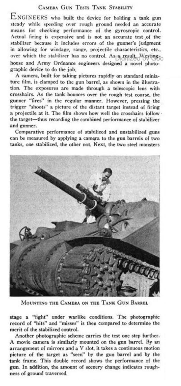 Camera gun tests tank stability